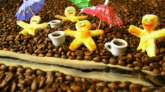 Four Cookie Man in Coffee Land Stock Footage