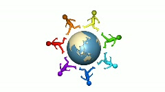 3D multicolour men walking around the earth Stock Footage