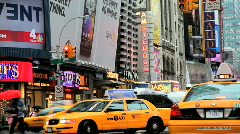 Broadway off Times Square with its Yellow Cabs, New York City Stock Footage