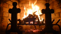 Fire in Brick Fireplace - stock footage