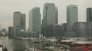 Stock Video Footage of Canary Wharf Cloudy