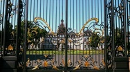 Look through gate at castle Stock Footage
