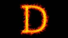 Fire letter D HD - stock footage