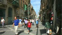 Pedestrian shopping street Republic Street in Valetta Stock Footage