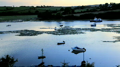 Estuary nr Kingsbridge Devon at sunset Stock Footage