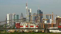 Skyline of Frankfurt with regional train Stock Footage