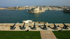 Canons on the Saluting Battery above the Grand Harbour Valetta Malta Stock Footage