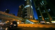 Stock Video Footage of Night Sheikh Zayed road, view through window of moving car in Dubai, UAE.