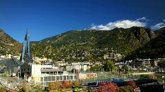 Andorra La Vella Skyline Timelapse Andorra La Vella Panorama, Termoludico Caldea Stock Footage