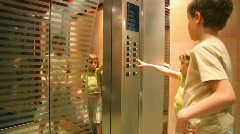 Forbidden to children without adults to use elevator Stock Footage