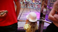 Girl with parents in elevator in cruise ship Stock Footage