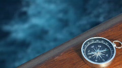 Compass on ship moving in sea Stock Footage