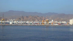 Containers in seaport of Muscat, Oman Stock Footage
