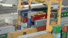 Stacks of freight containers in seaport, Muscat, Oman. Stock Footage