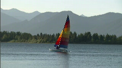 Catamaran Rainbow Sail Boat 1 Stock Footage