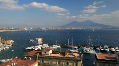 Naples Skyline Yacht Port Harbor Time Lapse Italy Volcano Mount Vesuvius Vesuvio Stock Footage