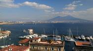 Naples Skyline Yacht Port Harbor Time Lapse Italy Volcano Mount Vesuvius Vesuvio Stock Footage