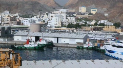 Fireship sailing in seaport of Muscat, Oman Stock Footage