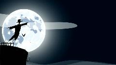 HD cartoon of scarecrow over full moon Stock Footage