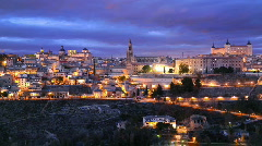 Toledo Skyline Timelapse Spain, Alcazar de Toledo Fortress, Gothic Cathedral Stock Footage