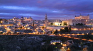 Stock Video Footage of Toledo Skyline Timelapse Spain, Alcazar de Toledo Fortress, Gothic Cathedral