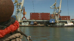 Industrial port freight containers boats Stock Footage