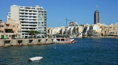 High rise development at St Julian's Bay Malta Stock Footage