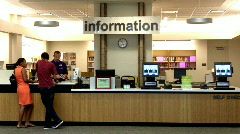 Main Desk At Public Library Stock Footage