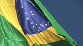 Brazilian flag blowing in the wind. HD Footage