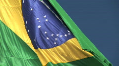 Brazilian flag blowing in the wind. - stock footage