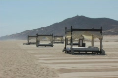 Beds on the Beach in Cabo San Lucas Mexico Stock Footage