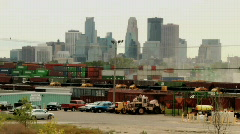 City Skyline, Shipping Containers - stock footage