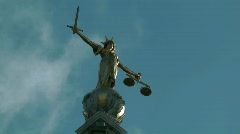 Scales of justice at the Old Bailey London - stock footage
