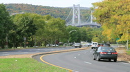 Stock Video Footage of Mid Hudson Bridge Poughkeepsie With Cars In Foreground