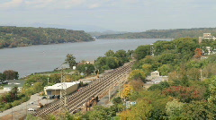 View of the Hudson River fr Walkway Over The Hudson Bridge Poughkeepsie - stock footage