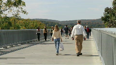 People walking over Walkway Over The Hudson Bridge Poughkeepsie Stock Footage