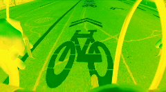 Neon green bicycle lane. Stock Footage