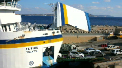 Cars leaving the island ferry at Gozo Malta Stock Footage