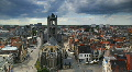 Ghent Skyline Time lapse Gent European Old Town Church Belgium Houses Roofs Footage