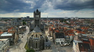 Ghent Skyline Time lapse Gent European Old Town Church Belgium Houses Roofs Stock Footage