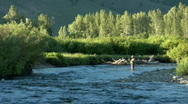 Stock Video Footage of Scenic Fly Fishing Slomo 1.1