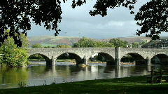 Bridge over the river Wye in Builth Wells. Stock Footage