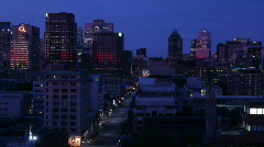 Glowing amber sunrise over downtown Montreal, Quebec, Canada Stock Footage