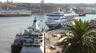 Stock Video Footage of Cruise ships moored in the Grand Harbour Valetta Malta