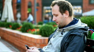 Man sending text message  Stock Footage