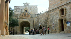 Main gate to the walled city of Mdina the Silent City Stock Footage