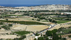 View over the countryside and the town of Mosta Stock Footage
