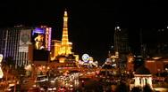 Las Vegas Strip Night Hotel Paris (HQ 1080p) Stock Footage
