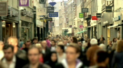 Slow motion shopping crowd blurred (HD) Stock Footage