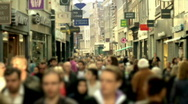 Stock Video Footage of Slow motion shopping crowd blurred (HD)